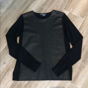 WORN ONCE VINCE BLACK SWEATER WITH LEATHER FRONT